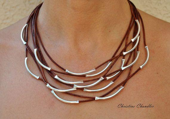 Collar de cuero - cuero y joyería de plata esterlina de plata collar - Christine Chandler - 8 Strand collar - joyas de cuero-