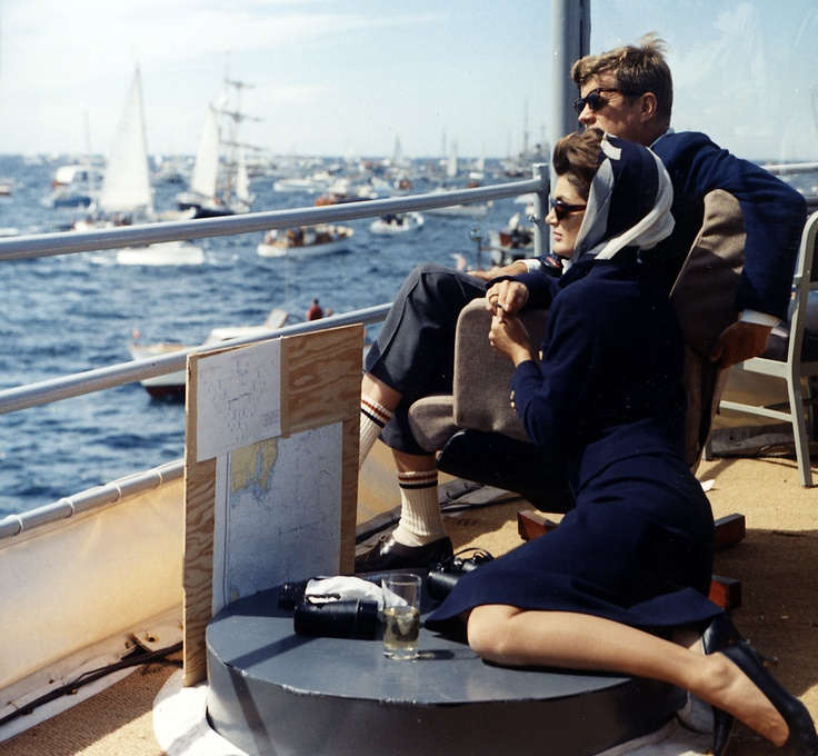 The Kennedys watch the America's Cup race at Newport, Rhode Island, 1962