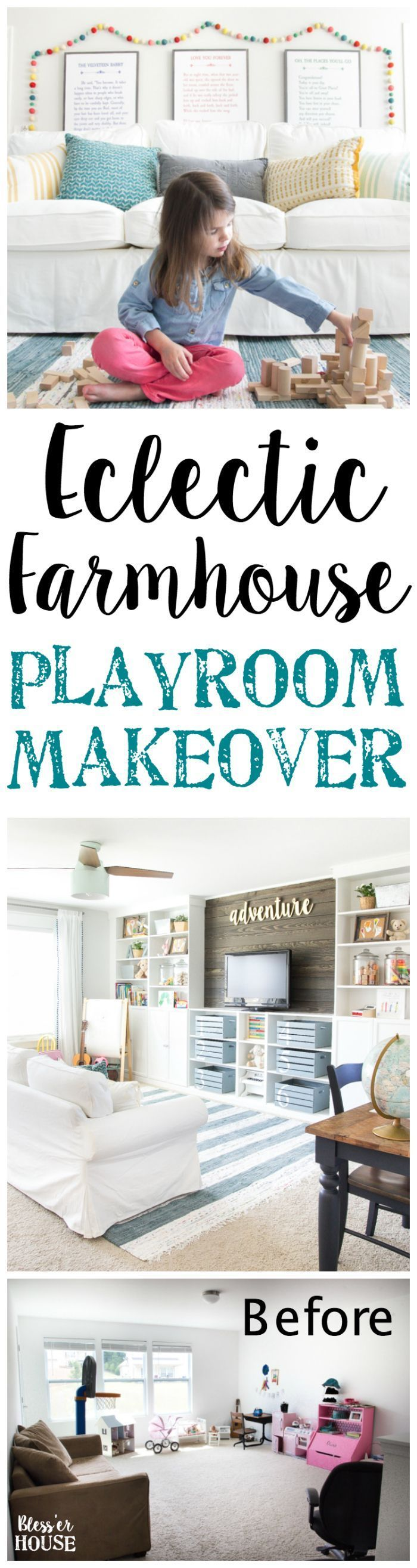Eclectic Farmhouse Playroom Makeover | http://blesserhouse.com - A boring and cluttered playroom gets a modern eclectic farmhouse makeover on a budget with DIY projects, smart storage solutions, and inexpensive finds. popular pin