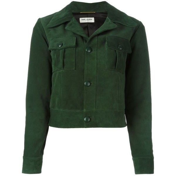 Saint Laurent cropped leather jacket ($3,850) ❤ liked on Polyvore featuring outerwear, jackets, coats, coats & jackets, ysl, green, long sleeve crop jacket, yves saint laurent jacket, cropped leather jacket and leather jackets