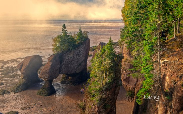Fog Lifting, Hopewell Rocks, Flowerpots, Sandstone, Hopewell, Bay of Fundy, New Brunswick