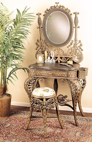Victorian Wicker Vanity ~ #vanitydecor