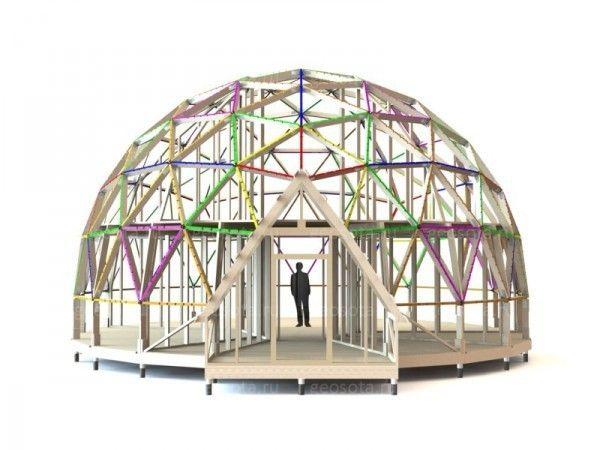 Геодезический купол (Геокупол, геодом) - это сферическое архитектурное сооружение, собранное из стержней, образующих геодезическую структуру, благодаря которой сооружение в целом обладает хорошими несущими качествами. Геодезичес-кий купол является несущей сетчатой оболочкой. Форма купола образуется благодаря особому соединению балок в каждом узле сходятся ребра слегка различной длины, которые в целом образуют многогранник, близкий по форме к сегменту сферы. Частота деления геокупола…