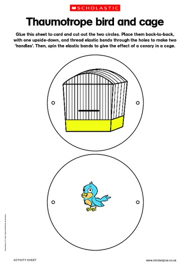 Thaumotrope - when it spins the bird appears in the cage