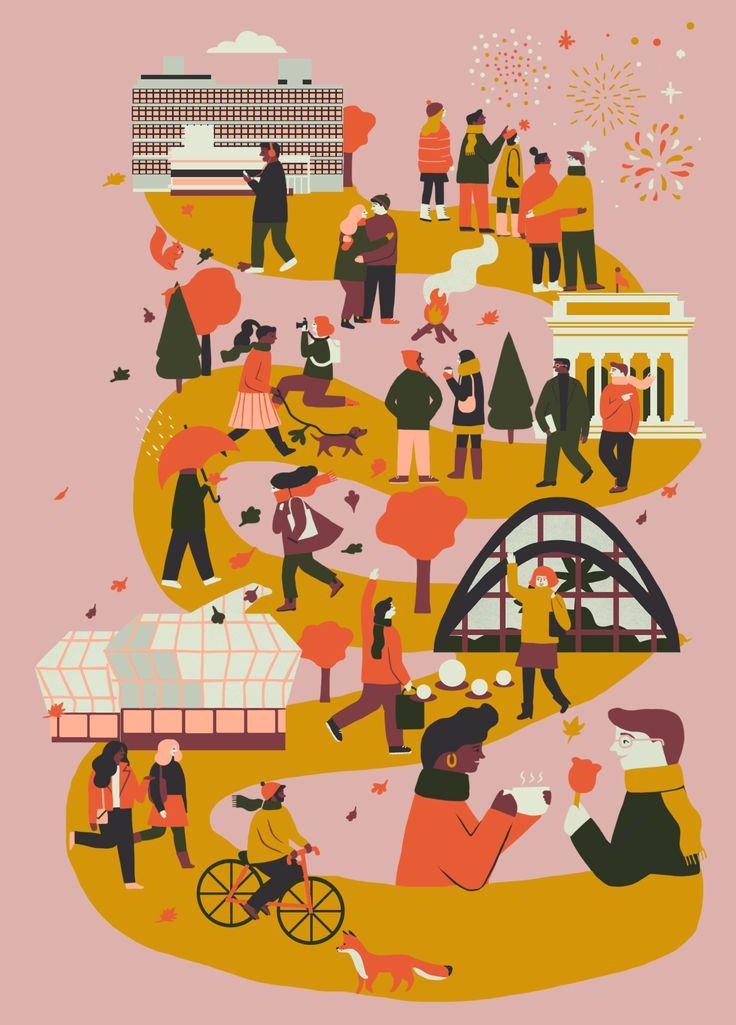 "naomiwilkinson: ""An illustration I did for Sheffield Hallam Universities November events calendar """