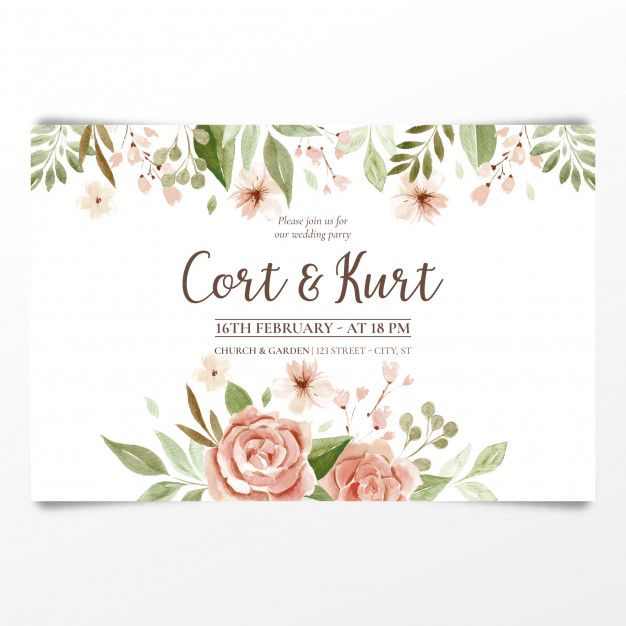 Watercolor Floral Wedding Invitation Card Vector For Free Download