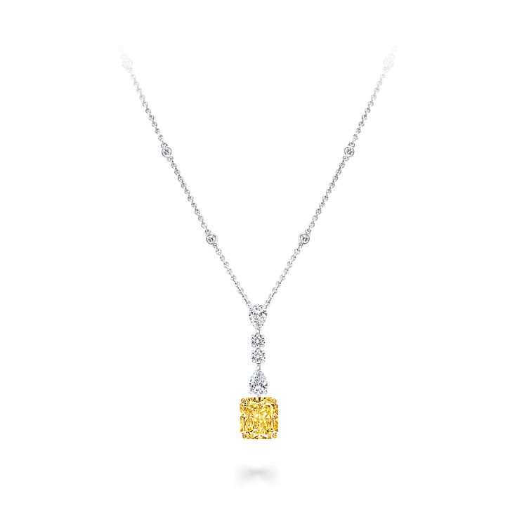 Radiant Cut Yellow & White Diamond Pendant