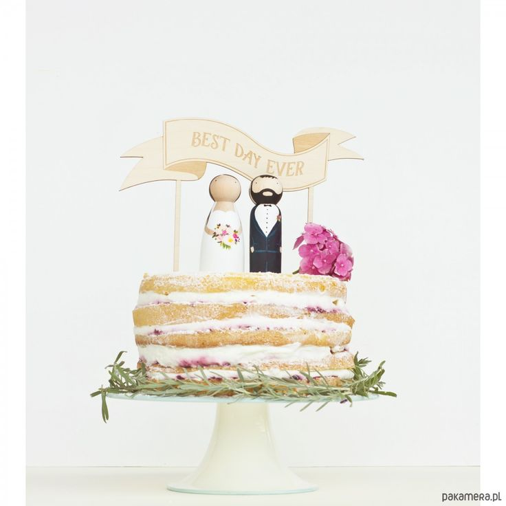 Ślub - dodatki-Drewniane figurki na tort z topperem wstęgą