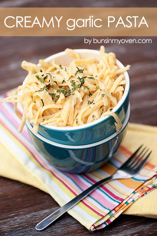 Creamy Garlic Pasta #recipe by bunsinmyoven.com   Perfect comfort food for a quick weeknight dinner