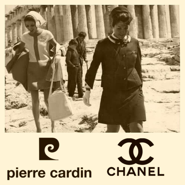 Olympic Airways vintage fashionable uniforms by Coco Chanel 1966 - 1968, by Pierre Gardin 1969 - 1971 at Acropolis (collage with photos from Pinterest)