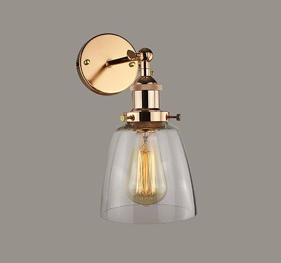 INDUSTRIAL COPPER Clear Glass SHADE RETRO VINTAGE WALL LIGHT Fitting Pendant