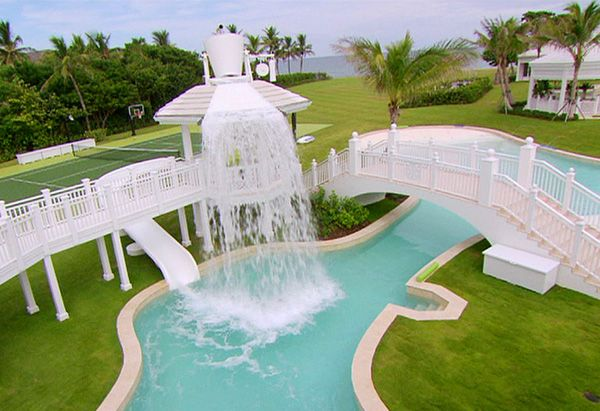 #insane pools #celine dion #florida Part of celine's pool complex.  Lazy river with slides and bridges galore.