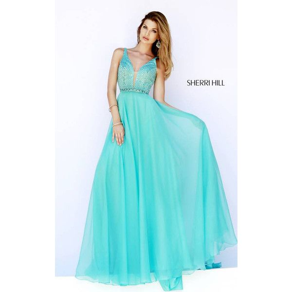 Glitzy Sherri Hill 32150 Aqua Prom Dress 2015 ($218) via Polyvore featuring dresses, aqua blue prom dresses, aqua blue dress, blue prom dresses, sherri hill dresses and aqua dresses