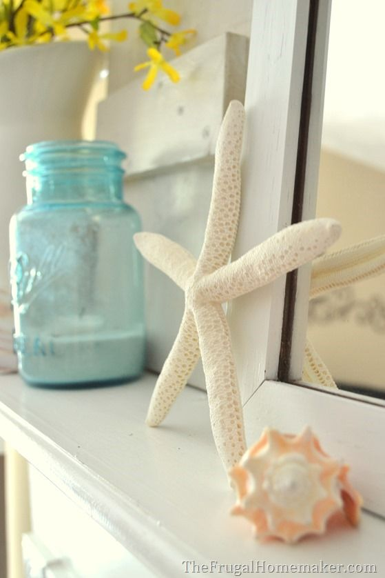 Coastal themed mantel