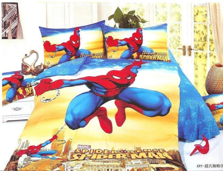 yellow blue spiderman bedding sets Boy's Children's bedroom decor single twin size bed sheets quilt duvet cover 3pcs no filler #Affiliate