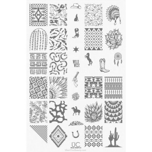 UberChic Beauty : UberChic Nail Stamping Plate - Wild West 01 Shop here- www.color4nails.com Worldwide shipping available