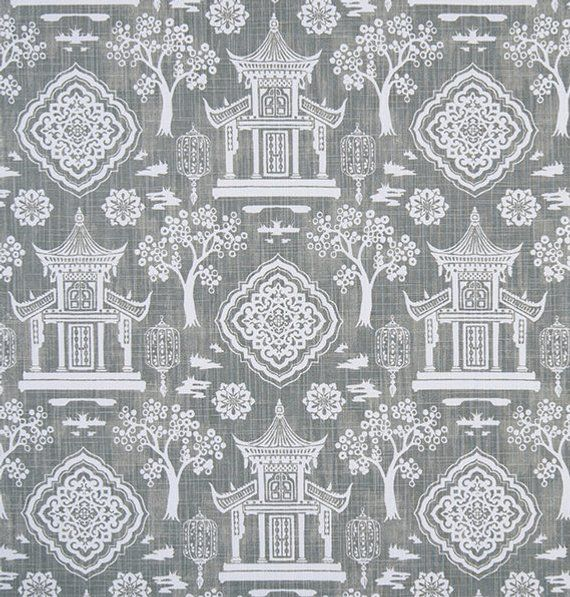 Gray And White Asian Home Decor Fabric By The Yard Designer Drapery