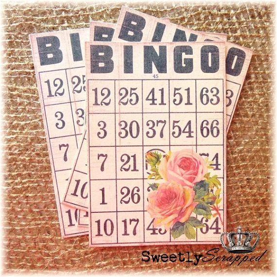 Rose Bingo Cards, Vintage Image of roses, Black White Bingo Card, Scrapbooking, Cardmaking