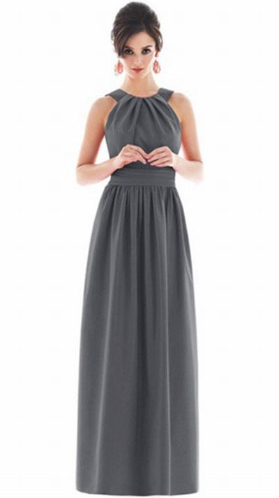 Alfred Sung Long Bridesmaid Dress with Pockets D495 by Dessy at frenchnovelty.com