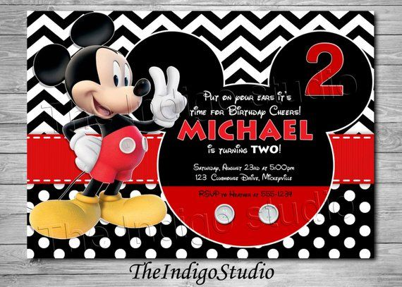 mickey mouse 2nd birthday invite card