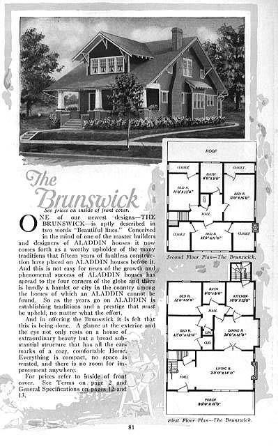 "1 1/2 story Craftsman 3 Bed, 1 Bath Sears' Bungalow Floor Plans ""The Brunswick"" 1920"