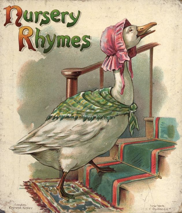 Nursery Rhymes, Mother Goose heading up the stairs, London: Ernest Nister and New York: EP Dutton & Co., Printed in Bavaria.  Entire book may be seen at the website (Baldwin Library of the university of Florida). ufdc.ufl.edu