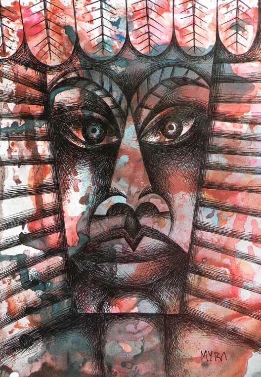ROSTRO AFRICANO tempera y tinta. Conéctate con tus emociones y sentimientos a través del arte. | Connect with your emotions and feelings through art. #dibujo #arte #art