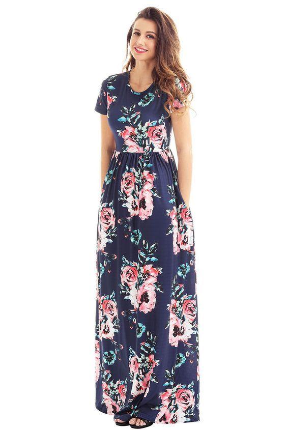 eb5747731412 Pocket Design Short Sleeve Navy Blue Floral Maxi Dress in 2019 ...
