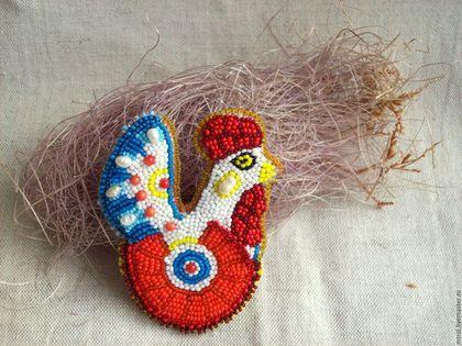 "Helen Kolomoets. Brooch ""Dymkovo toy  cock"" Bead embroidery. Елена Коломоец. Брошь ""Дымковский петух"". Вышивка бисером."