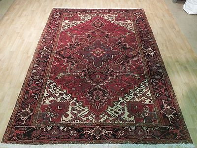 Brick Red 7x10 Area Rug Hand Knotted Heriz Fantastic Rug Persian Carpet SALE
