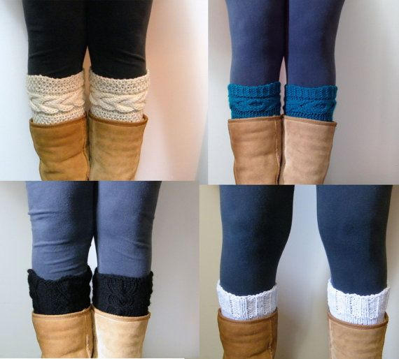 Digital PDF 4 Knitting Pattern Cable Boot Cuffs