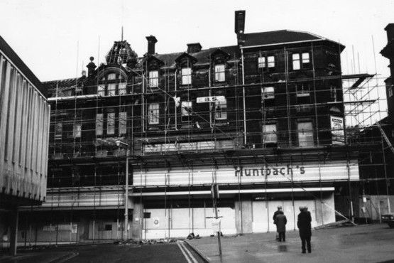 Demolition of Huntbach's in 1985 to make way for the Potteries Shopping Centre