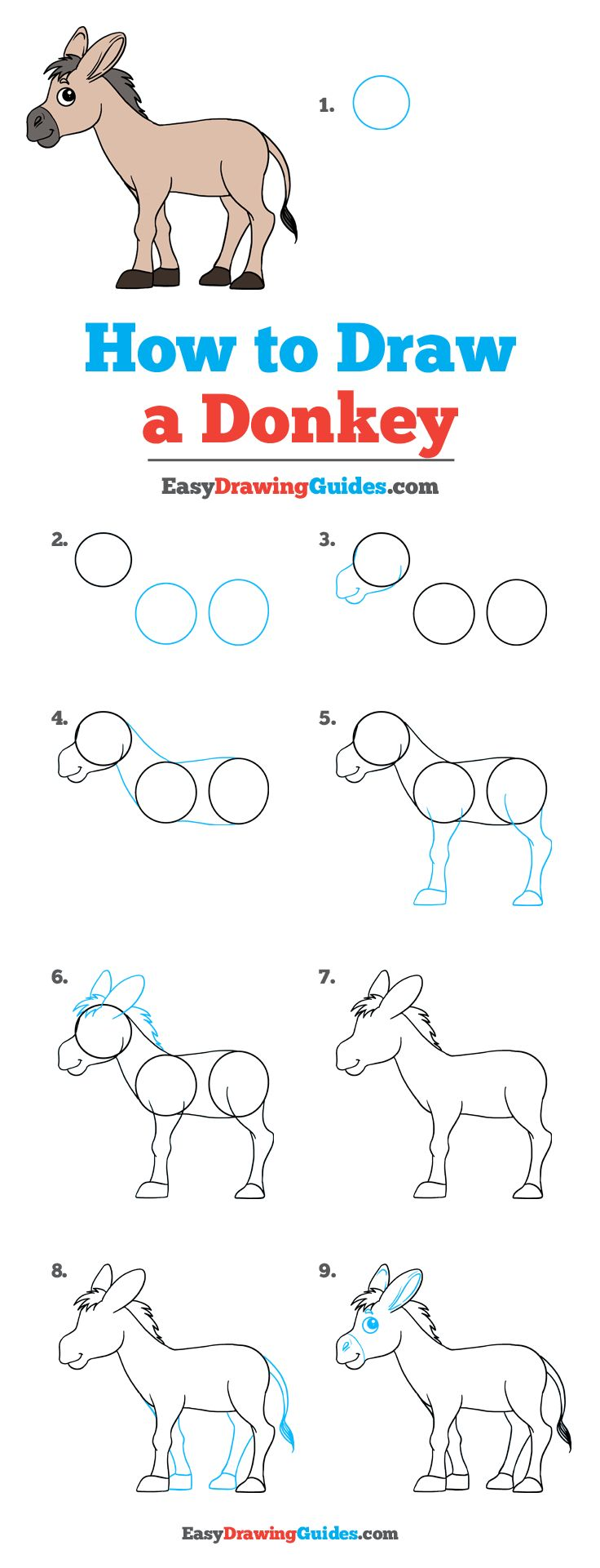 draw easy donkey drawing step drawings 3d easydrawingguides lessons tutorial doodle beginners animals read looking animal tutorials