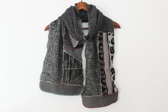 Gray male scarf coal male scarf moher winter by Nazcolleccolors