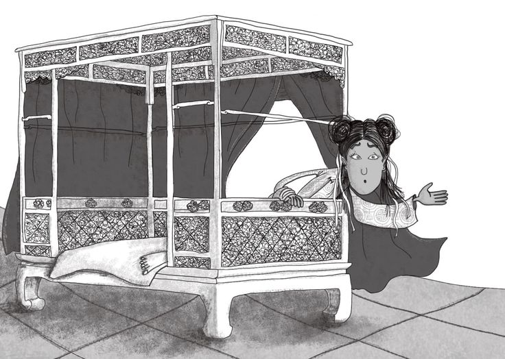 Princess Badoura wakes up the next day and demands to know where her mystery prince has gone! From 'The Adventures of Prince Camar and Princess Badoura', Book 1 of the Arabian Nights Adventures series published by Harpendore. Stories retold by Kelley Townley. Illustrations by Anja Gram. Copyright © Harpendore Publishing.