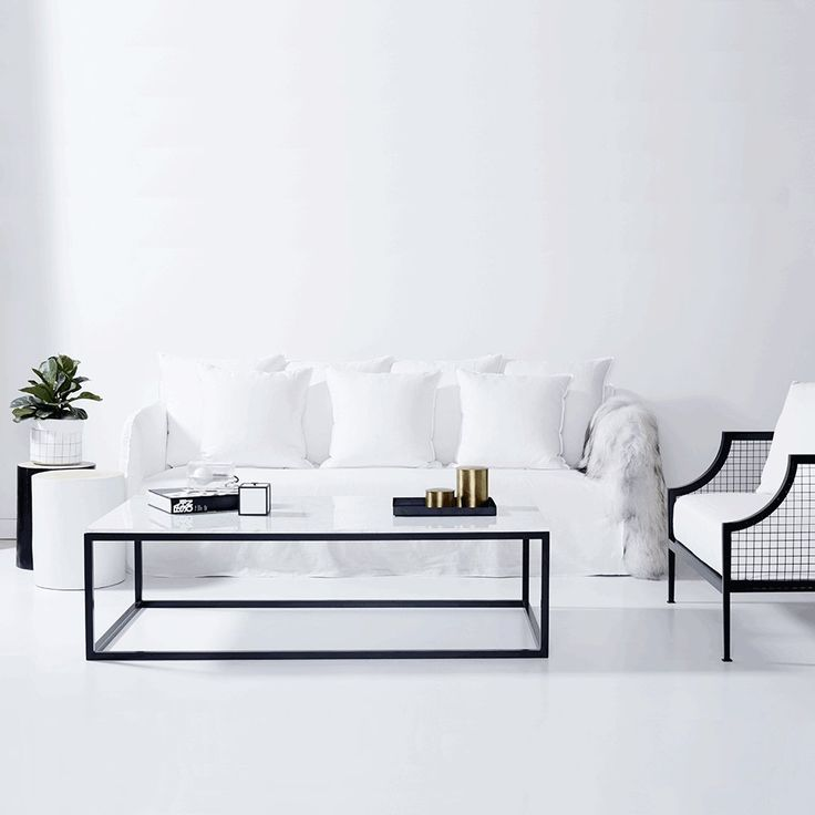 The Max Coffee Table- Italian Carrara Marble with a Black Powder Coated Steel Frame | Urban Couture - $1595