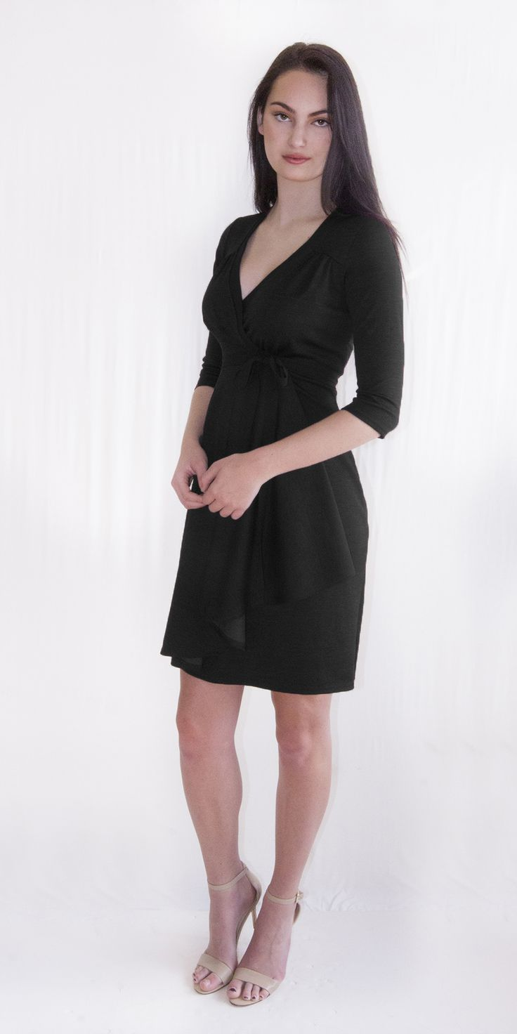 Black Wrap Dress The wrap dress is your classic go to for work or play. The feminine silhouette is flattering on almost every body-type and the full wrap design makes the sizes very flexible and creates almost a custom fit. The V-neck slims the body and the 3/4 length sleeves slim the hips. The slight A-line works or both pear and inverted triangle body types and the ruffle adds a little sass and helps make the body look curvy.