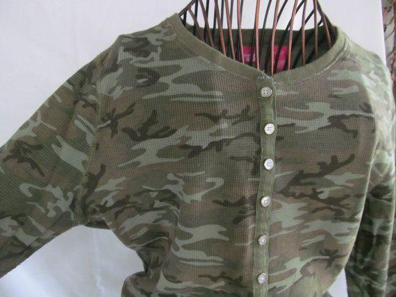 Thermal Camo Women Blouse Khaki Green Camouflage Shirt Army Wife Camo Long John shirt   ReVintageBoutique.Etsy.com