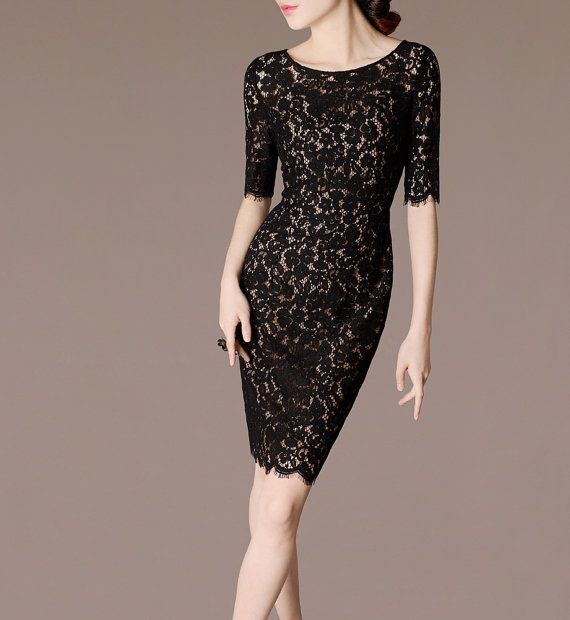 Vintage Black Lace Dress Sheath Style Elegant by chiefcolors
