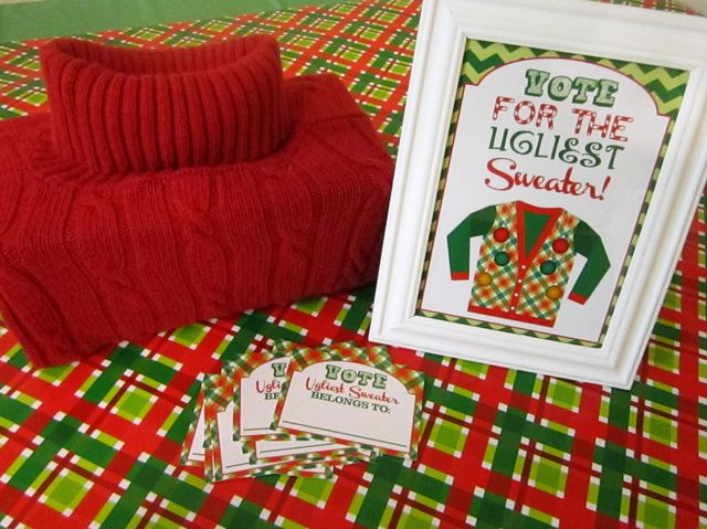 Vote for the winner at an Ugly Sweater party!  See more party ideas at CatchMyParty.com!  #partyideas #uglysweater