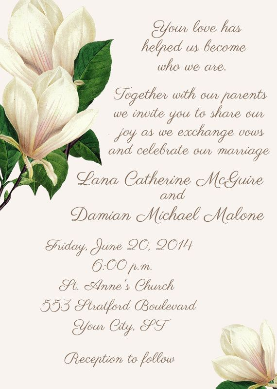 8 best inspiration magnolias images on pinterest for Magnolia tree wedding invitations