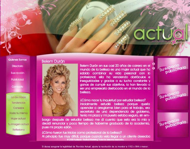 Diseño Web de revista electrónica multimedia (Con efectos de acercamiento, brillo, movimiento, etc.) dirigida al público femenino. Diseñada el 2008.