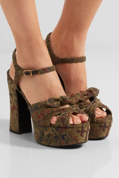 Heel measures approximately 125mm/ 5 inches with a 45mm/ 2 inches platform Gold, navy and red brocade  Buckle-fastening ankle strap Designer color: Carpet Made in Italy