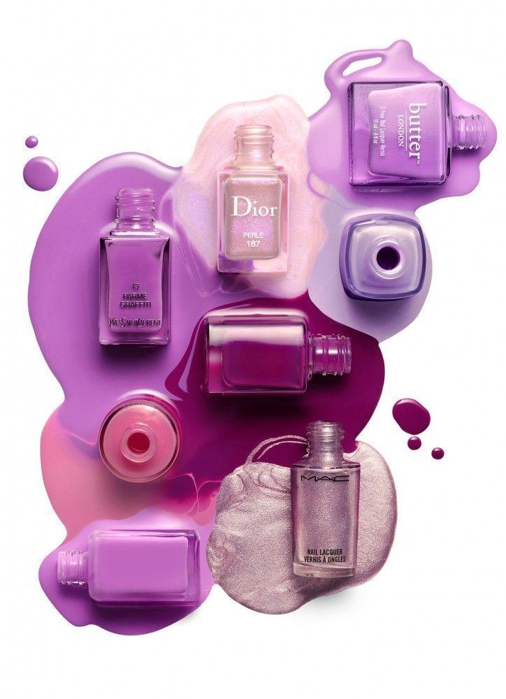 Shades of purple nail polishes.