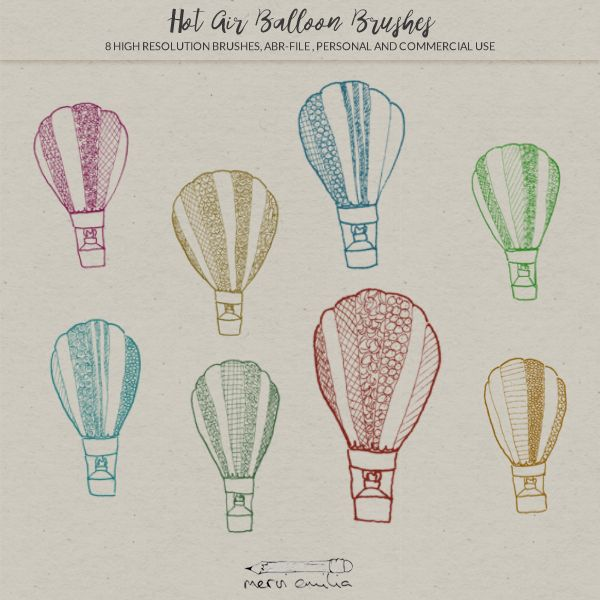 Adorable and whimsical doodled hot air balloon Photoshop and GIMP brushes for personal and commercial use. Perfect for digital designs such as websites, greeting cards, journaling sheets, baby photography and more.
