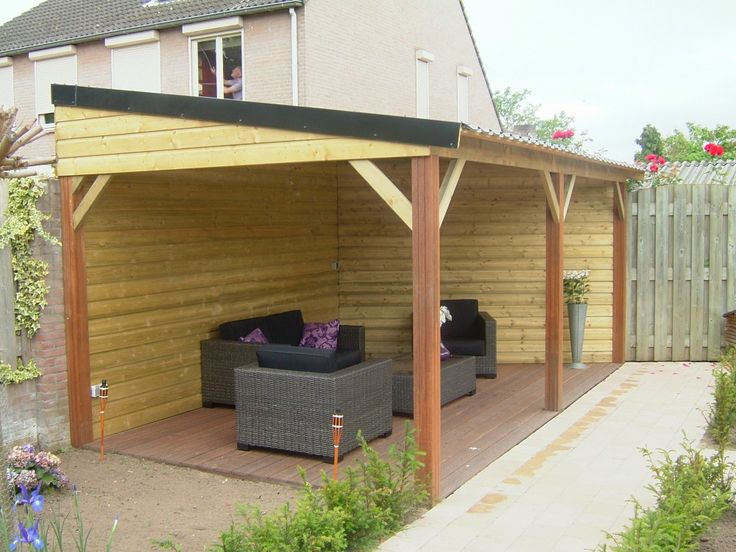 Tuinhuis met overkapping zelf maken google zoeken garden rooms pinterest verandas - Overdekte patio pergola ...