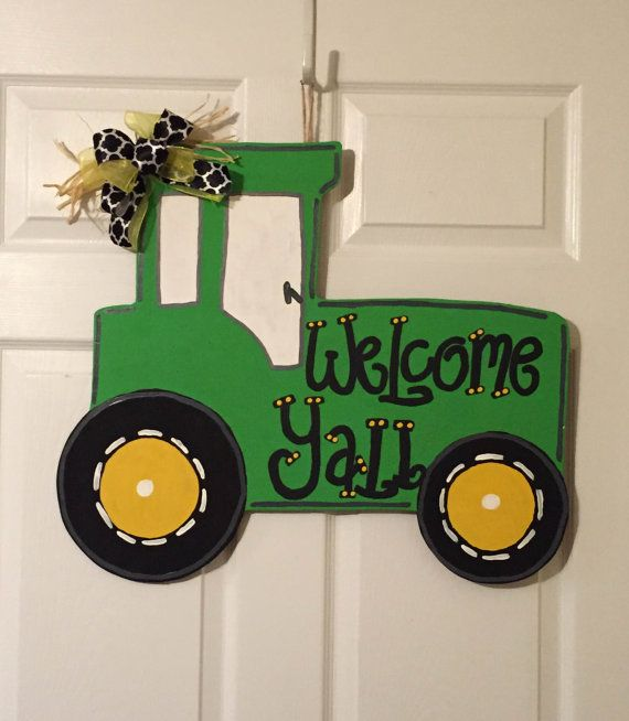 Door Hanger  Wood Cut Out  Tractor. This adorable by AandJDesigns3