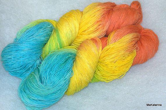 Hand dyed yarn coral reef yarn handpainted by MaKatarinaCorner