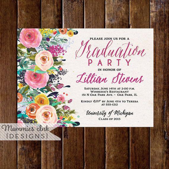 Invitación fiesta graduación invitación flores por MommiesInk