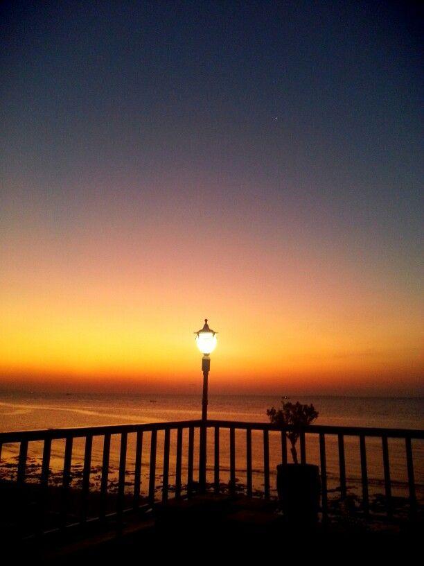Orange Sunset on the rock hotel balcony, Kupang, NTT